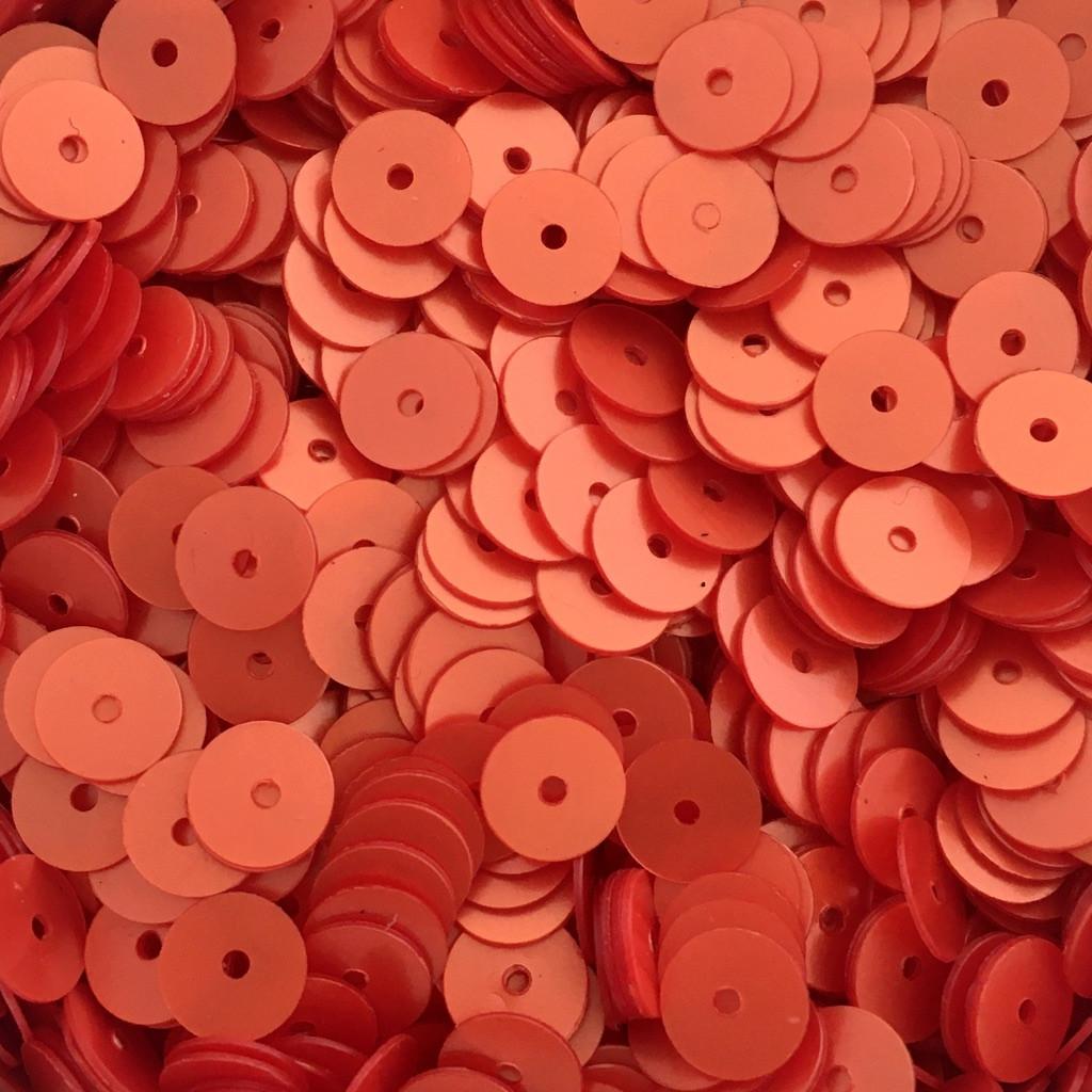 Пайетки Индия 6 мм. Круглая плоская. Красно-оранжевый (сатин) 5 гр.