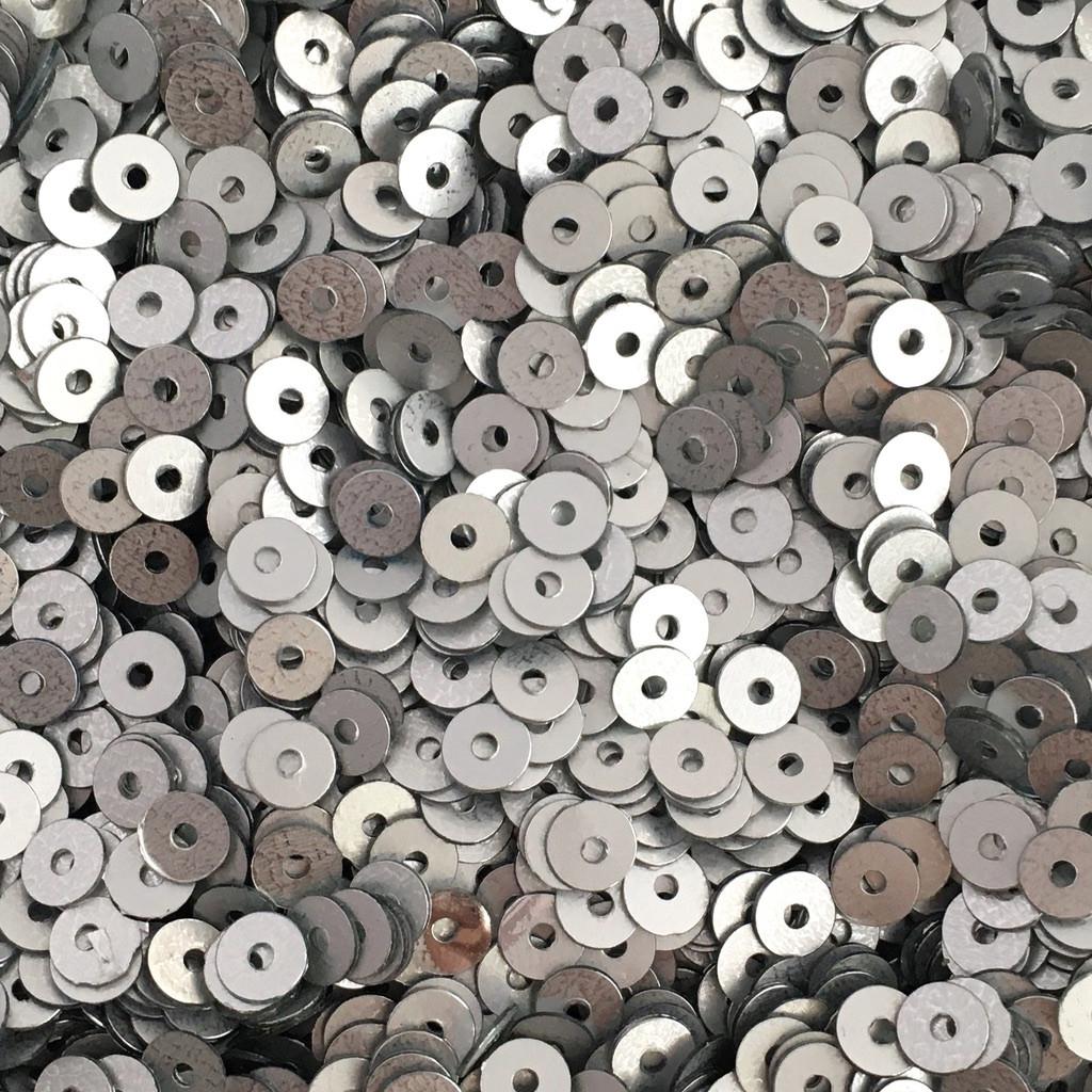 Пайетки Индия 4 мм. Круглая плоская. Серебро (металлик матовый) 5 гр.