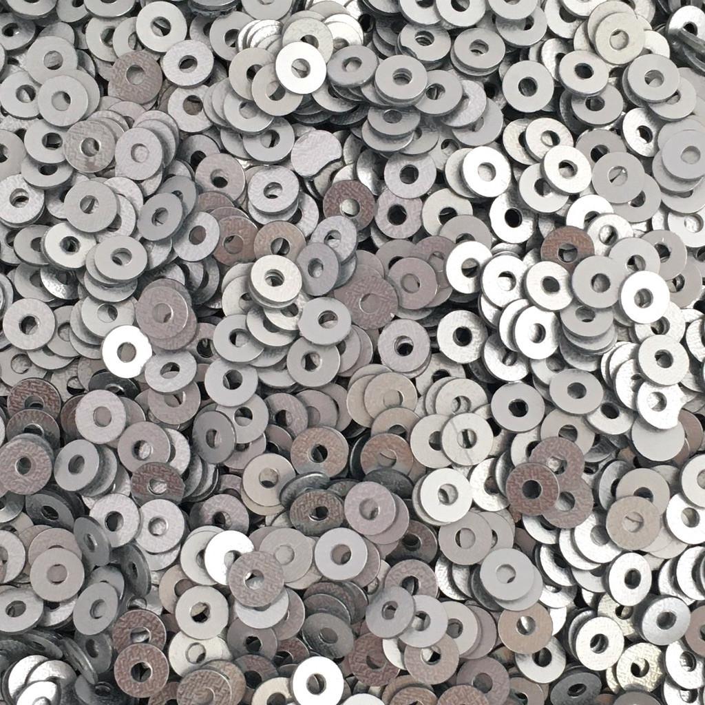 Пайетки Индия 3 мм. Круглая плоская. Серебро (металлик матовый) 5 гр.