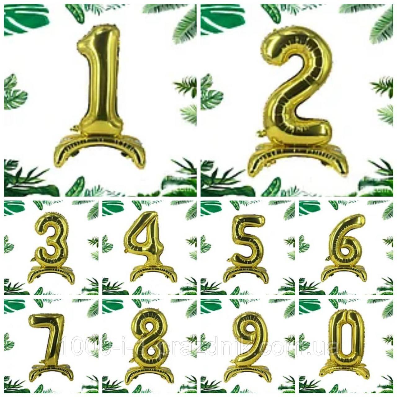"""Трёхмерная цифра на подставке  """"2""""    Золото"""