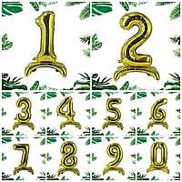 """Трёхмерная цифра на подставке  """"3""""    Золото"""