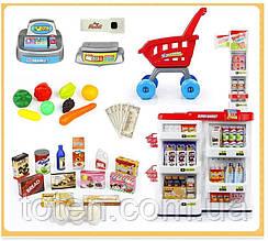 Супермаркет магазин 668-03 з візком. Каса з калькул., термінал, сканер, ваги, гроші, продукти
