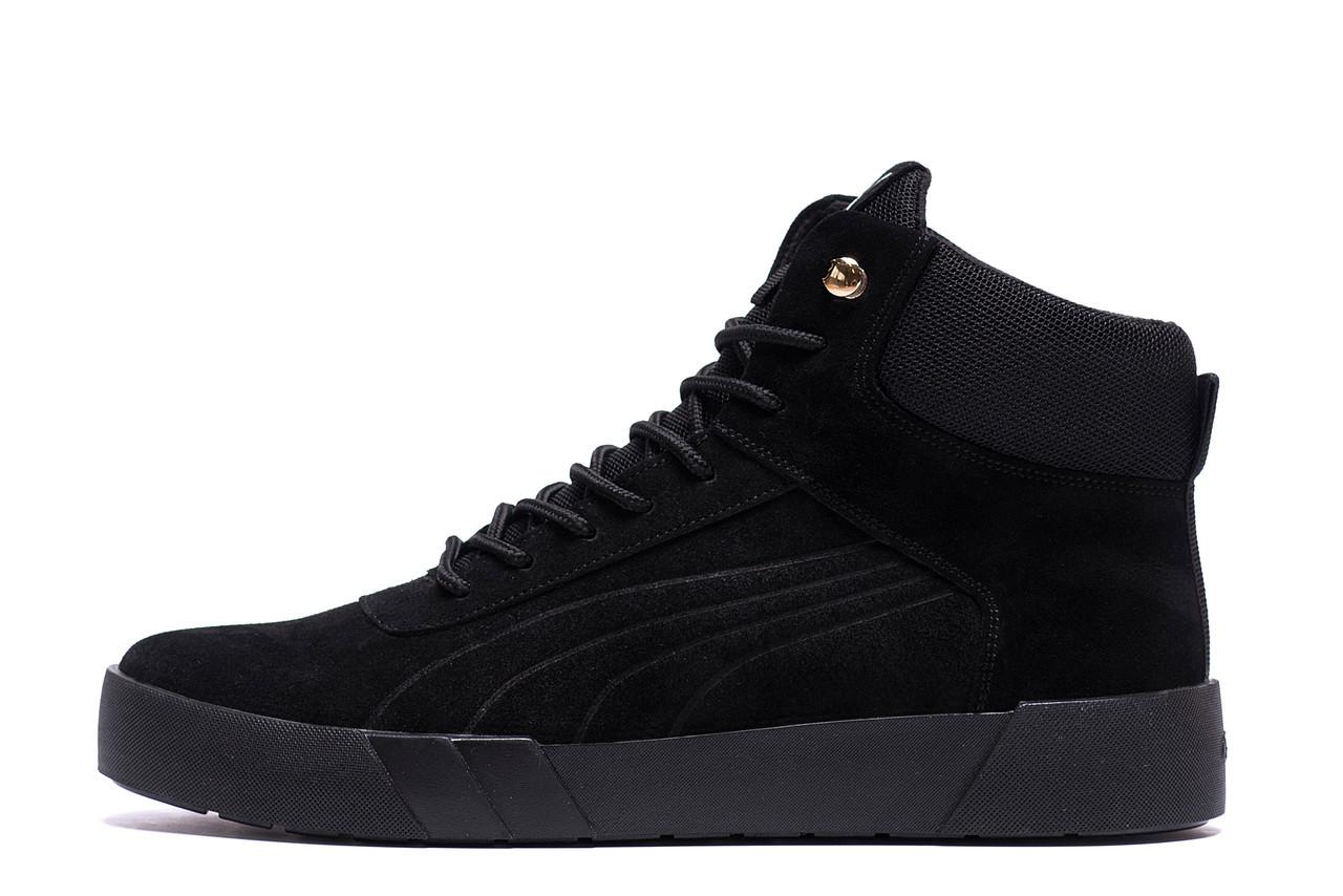 Мужские зимние кожаные ботинки Puma Black р. 42