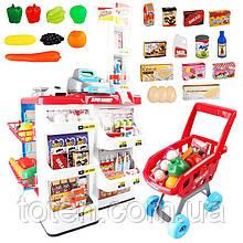 Супермаркет магазин 668-01 з візком. Каса з калькул., термінал, сканер, ваги, гроші, продукти