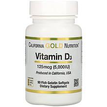 "Витамин D3 California GOLD Nutrition ""Vitamin D3"" 125 мкг 5000 МЕ (90 капсул)"