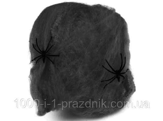 Паутина +2 паука чёрная растяжка до 3х метров