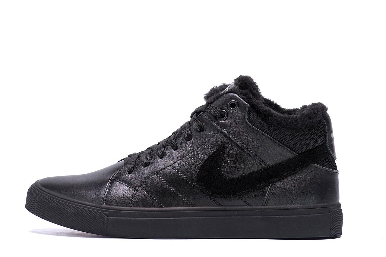 Чоловічі зимові шкіряні черевики Nike Black Leather р. 45