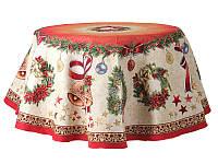 Скатерть гобеленовая с люрексом Новогодняя 140 х 140 см 732-046