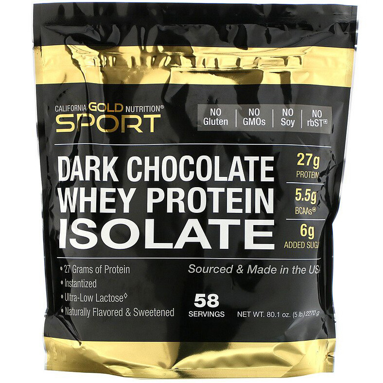 """Изолят сывороточного протеина California GOLD Nutrition, SPORT """"Whey Protein Isolate"""" вкус шоколада (2270 г)"""