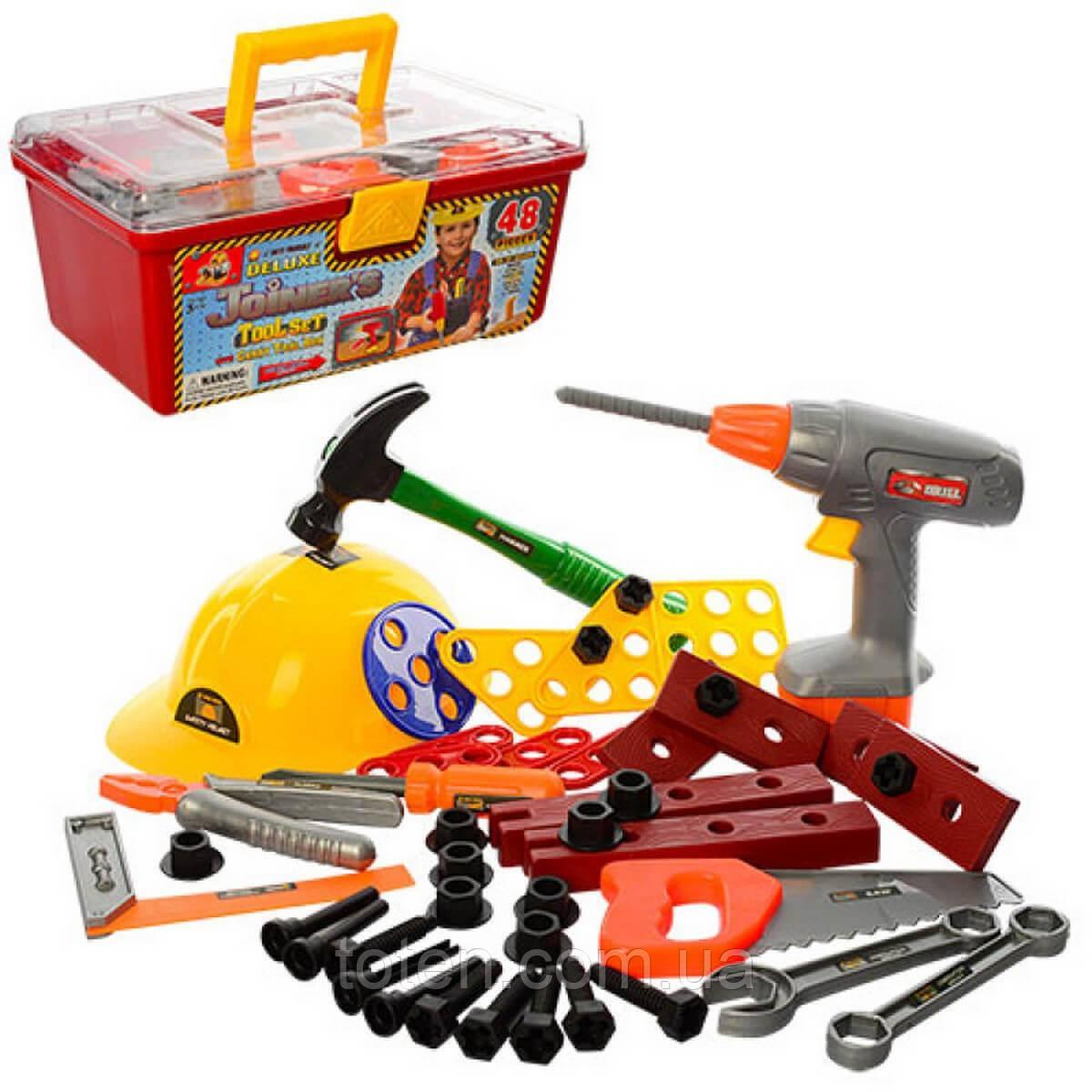 Детский набор инструментов в чемоданчике. Дрель, каска, молоток, отвертка и др. 48 инструм 2056