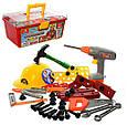 Детский набор инструментов в чемоданчике. Дрель, каска, молоток, отвертка и др. 48 инструм 2056, фото 3