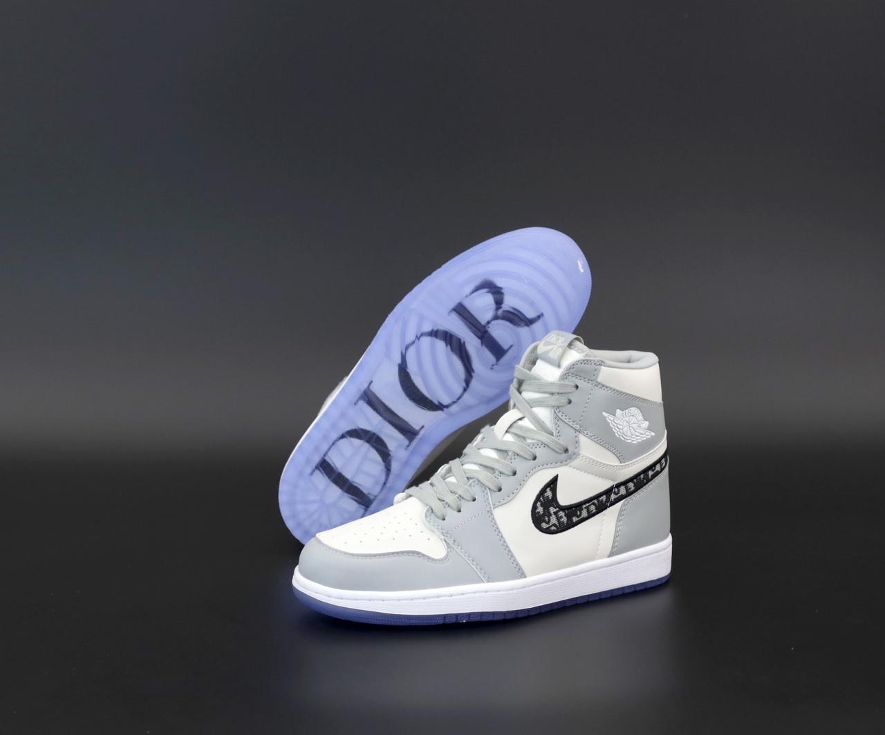 Женские кроссовки Dior x Nike Air Jordan 1 high (серо-белые) 12269