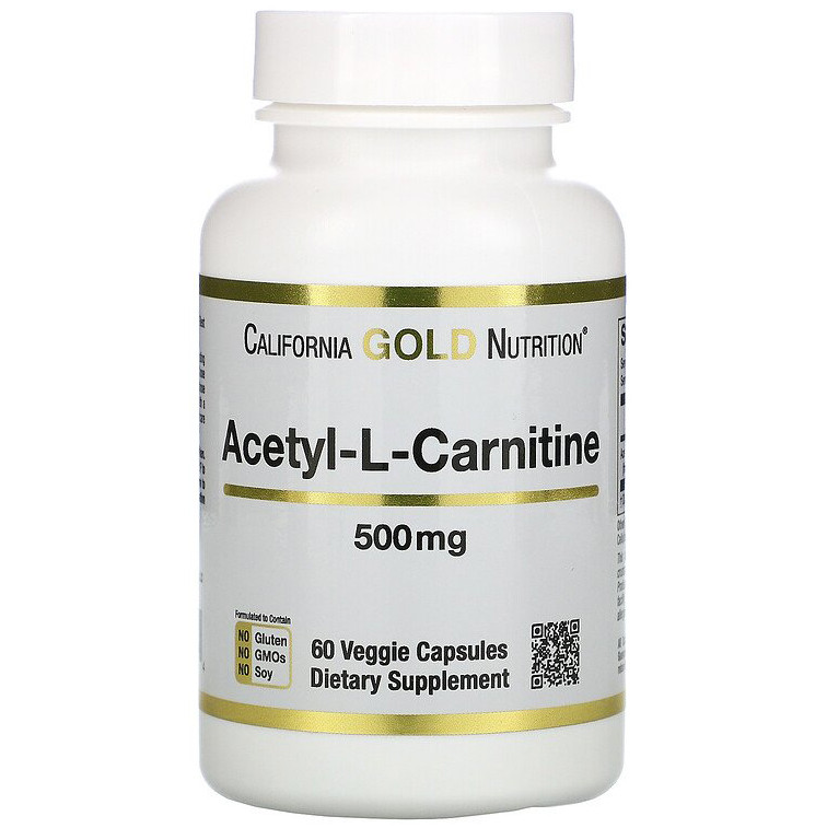 "Ацетил-L-Карнитин California GOLD Nutrition ""Acetyl-L-Carnitine"" 500 мг (60 капсул)"