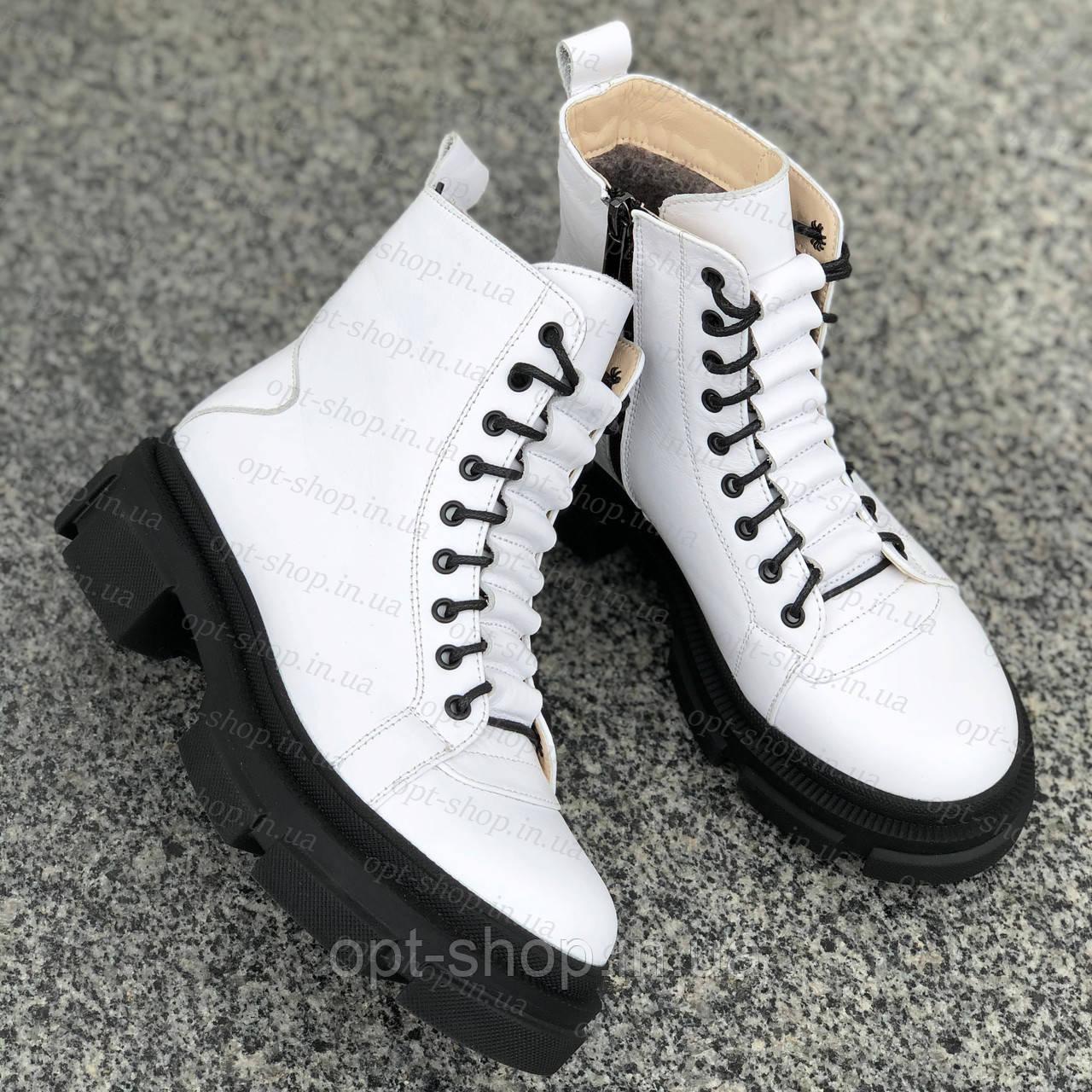 Черевики чоботи жіночі зимові шкіряні білі на хутрі на низькому ходу жіночі берци