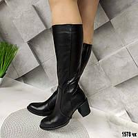 Кожаные женские демисезонные сапоги на каблуке, фото 1