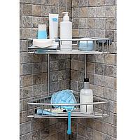 Полиця для ванної двоярусна алюмінієва, фото 1