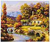 Картина по номерам KTL 0027 Дом у реки, 40 х 30 см, в коробке