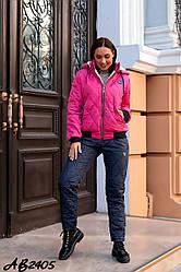 Жіночий прогулянковий костюм на синтепоні: куртка з овчиною всередині зі знімним капюшоном, батал великі розміри