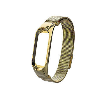 Ремешок для фитнес браслета Xiaomi Mi Band 5 и 6, Milanese design bracelet, Gold