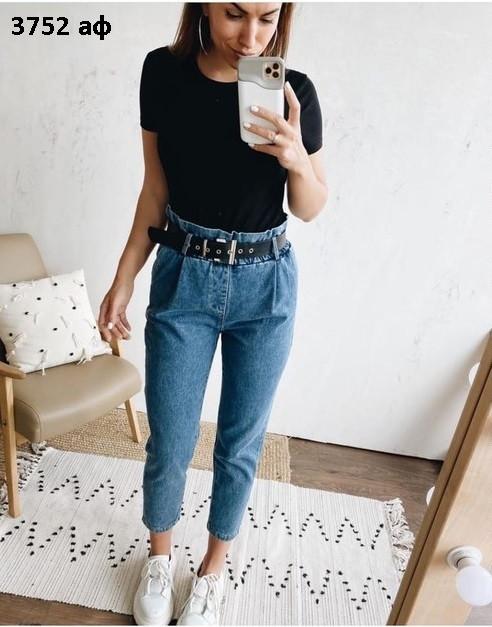 Модные женские джинсы с поясом 3752 аф