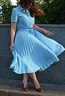 Платье плиссе солнце-клеш Голубой горошек, фото 1