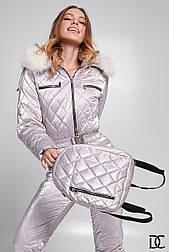 Женский горнолыжный зимний комбинезон с рюкзакомс и поясом на талии, капюшон с меховой опушкой vN10290