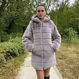 Женская искусственная шуба серого цвета с капюшоном vN10363