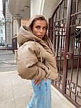 Женская осенний пуховик свободного фасона из матовой экокожи vN10467, фото 4
