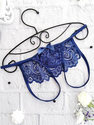 Эротический комплект кружевного белья с открытыми интимными зонами Синий. Размеры от XS до XXL, фото 2