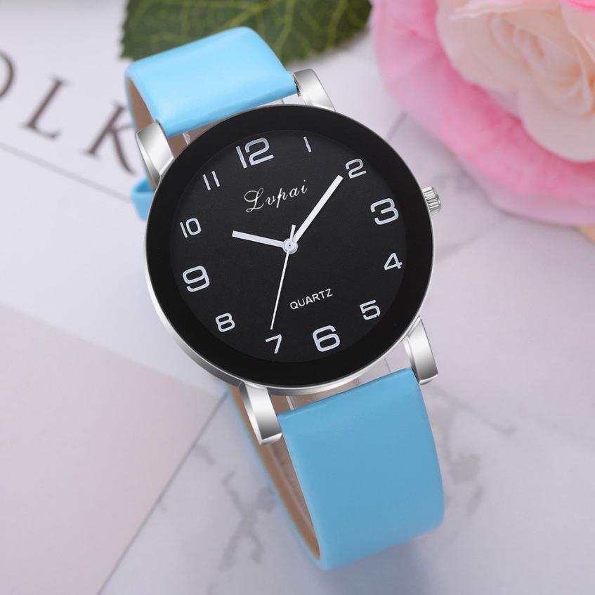 Кварцевые женские часы с голубым ремешком код 439