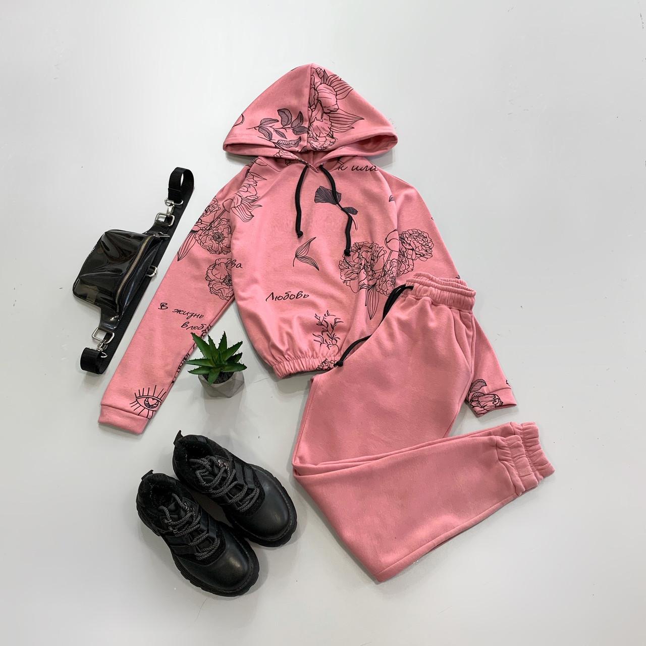 Женский утепленный спортивный костюм с принтованным укороченным худи (р. 42, 44) 66rt1159Е