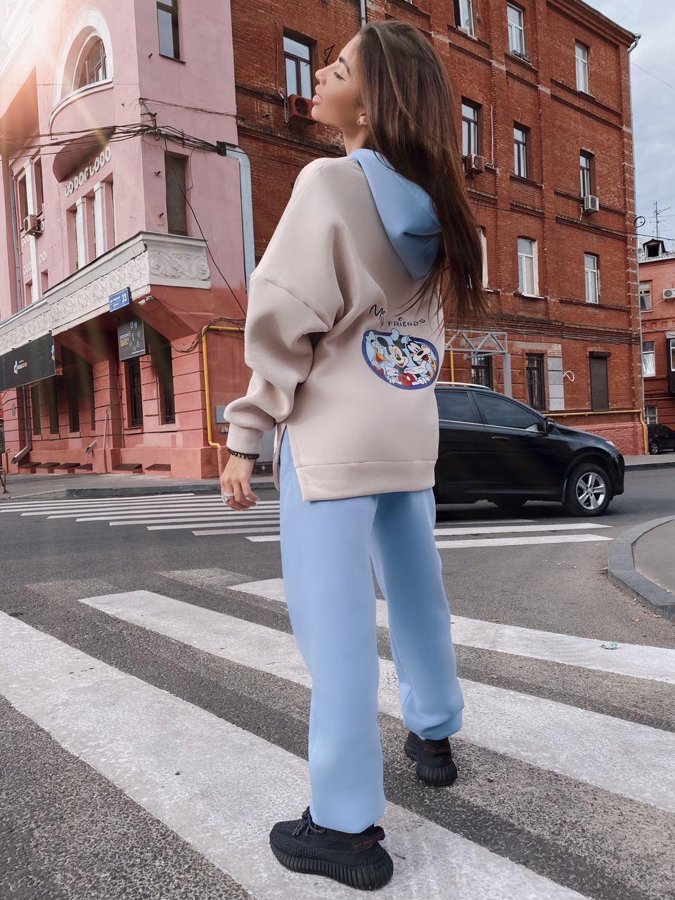 Теплый женский спортивный костюм двухцветный с мультяшным рисунком (р.S, M) 71rt1164