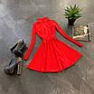 Расклешенное базовое платье - гольф из трикотажа рубчик с юбкой солнце (р. 42-44) 66ty1693Е, фото 2