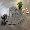 Расклешенное базовое платье - гольф из трикотажа рубчик с юбкой солнце (р. 42-44) 66ty1693Е, фото 5