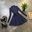 Расклешенное базовое платье - гольф из трикотажа рубчик с юбкой солнце (р. 42-44) 66ty1693Е, фото 6