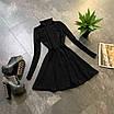 Расклешенное базовое платье - гольф из трикотажа рубчик с юбкой солнце (р. 42-44) 66ty1693Е, фото 7