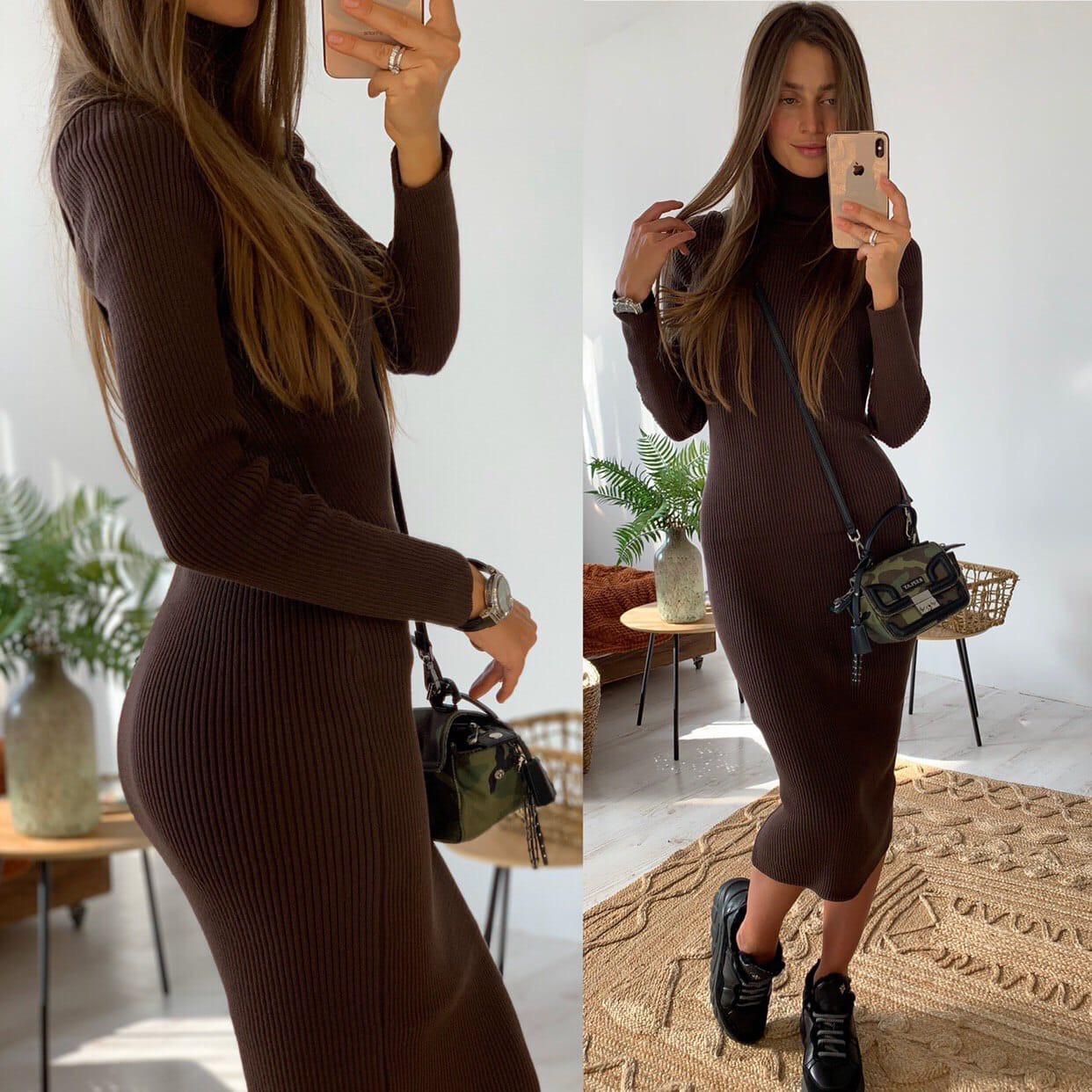 Вязаное длинное платье - резинка в расцветках (р. S - XL) 83ty1695