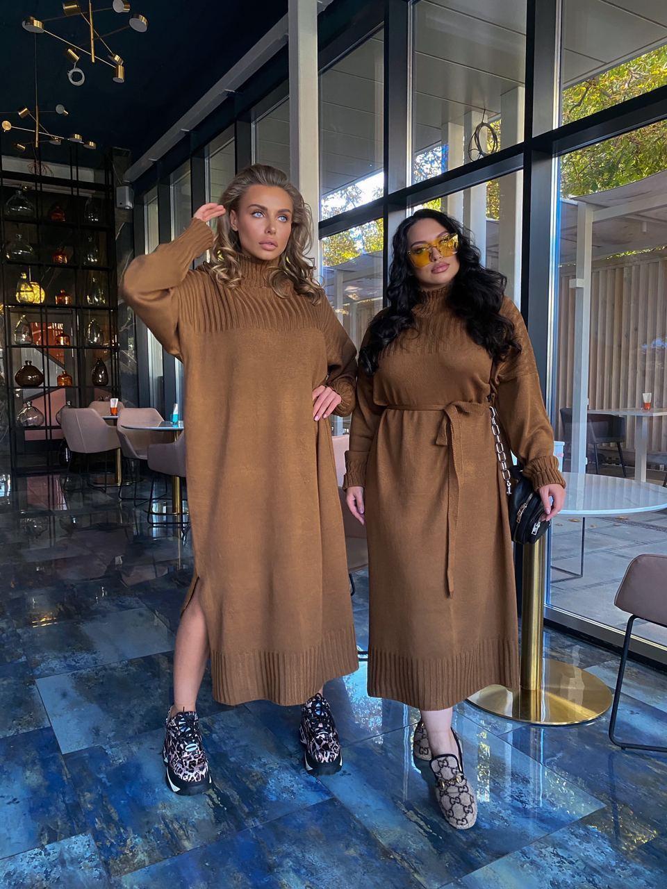 Вязаное длинное платье свободного фасона с поясом в расцветках (р. S - XL) 18ty1696
