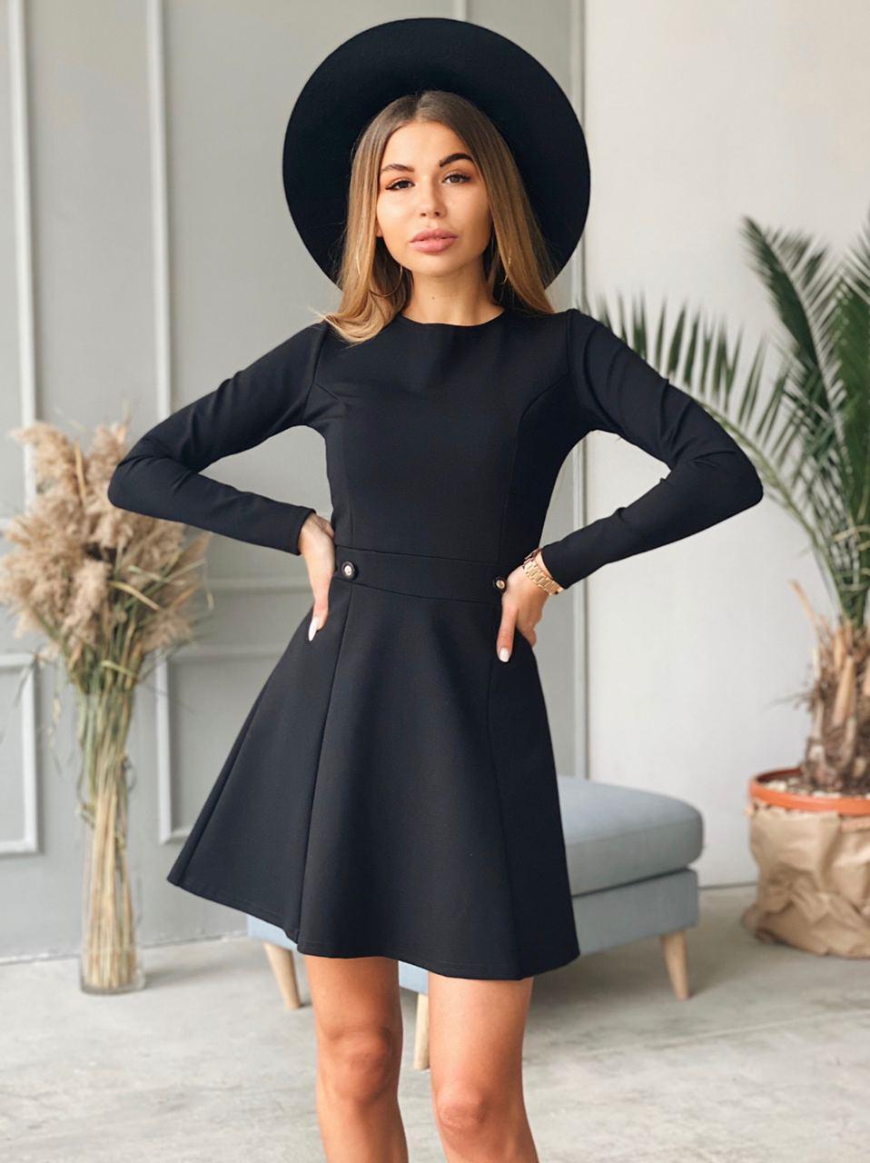 Черное осеннее платье с расклешенной юбкой и длинным рукавом (р. 42, 44) 22ty1701