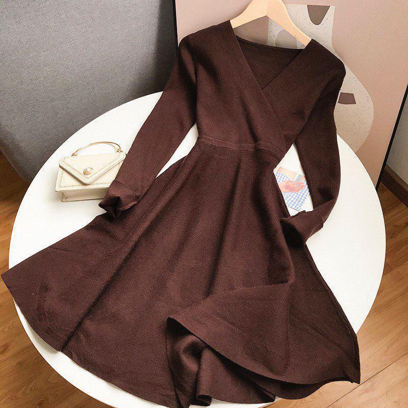 Теплое платье мелкой вязки с расклешенной юбкой и верхом на запах (р. 42-46) 68ty1704
