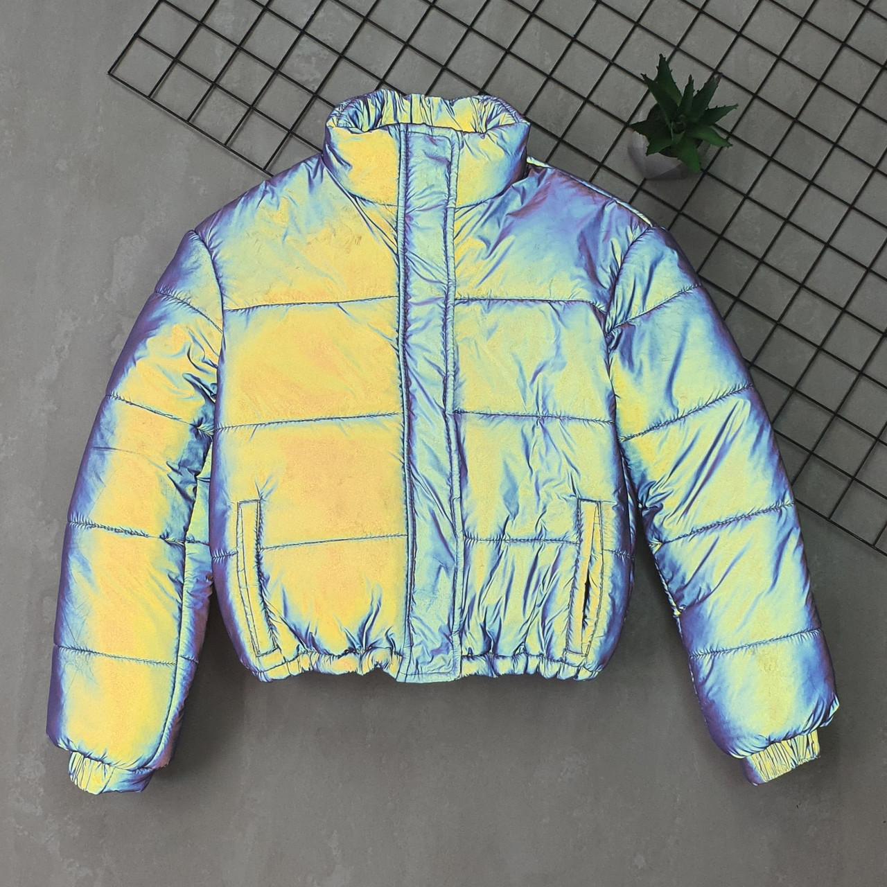 Женская яркая светоотражающая короткая куртка с переливом без капюшона (р. 42-46) 66ki503Q