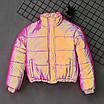 Женская яркая светоотражающая короткая куртка с переливом без капюшона (р. 42-46) 66ki503Q, фото 5
