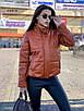 Зимняя короткая куртка из экокожи с воротником стойкой и без капюшона (р. 42-46) 55ki507, фото 2