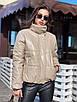 Зимняя короткая куртка из экокожи с воротником стойкой и без капюшона (р. 42-46) 55ki507, фото 6