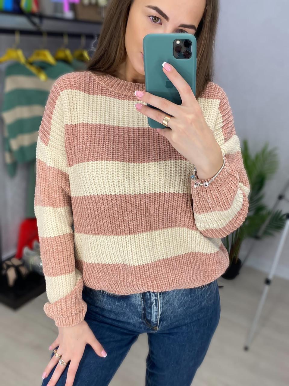 Вязаный двухцветный свитер в полоску (р. 42-46) 33dm988