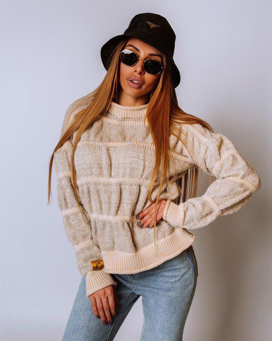 Вязаный приталенный свитер в полоску (р. 42-46) 18dm989