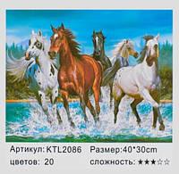 Картина по номерам Лошади KTL 2086 размер 40*30 см, зарисовка полная, на подрамнике