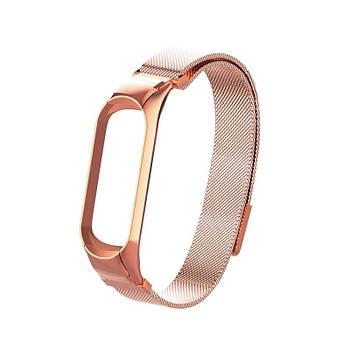 Ремешок для фитнес браслета Xiaomi Mi Band 5 и 6, Milanese design bracelet, Rose gold