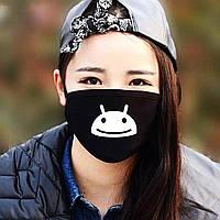 """Детская маска многоразовая (респиратор) защитная с принтом на лицо """"Андроид"""""""