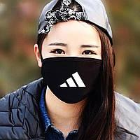"""Детская маска многоразовая (респиратор) защитная с принтом на лицо """"Adidas"""""""